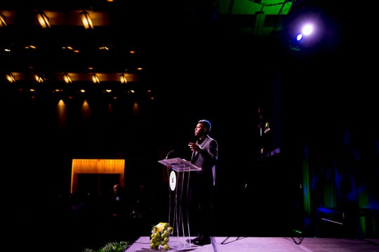 Chris Blue gives the keynote address at the 36th annual Knoxville News Sentinel Academic Achievers Banquet at the Knoxville Convention Center in Knoxville, Tennessee on Thursday, April 25, 2019.