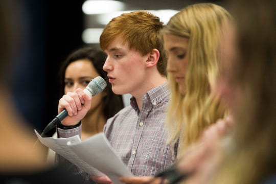 South Doyle High student Adam McDaniel rehearses for CTE goes Live 2019, at Central High School Tuesday, April 23, 2019.