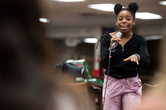 West High student Brooklynn Johnson rehearses for CTE goes Live 2019, at Central High School Tuesday, April 23, 2019.