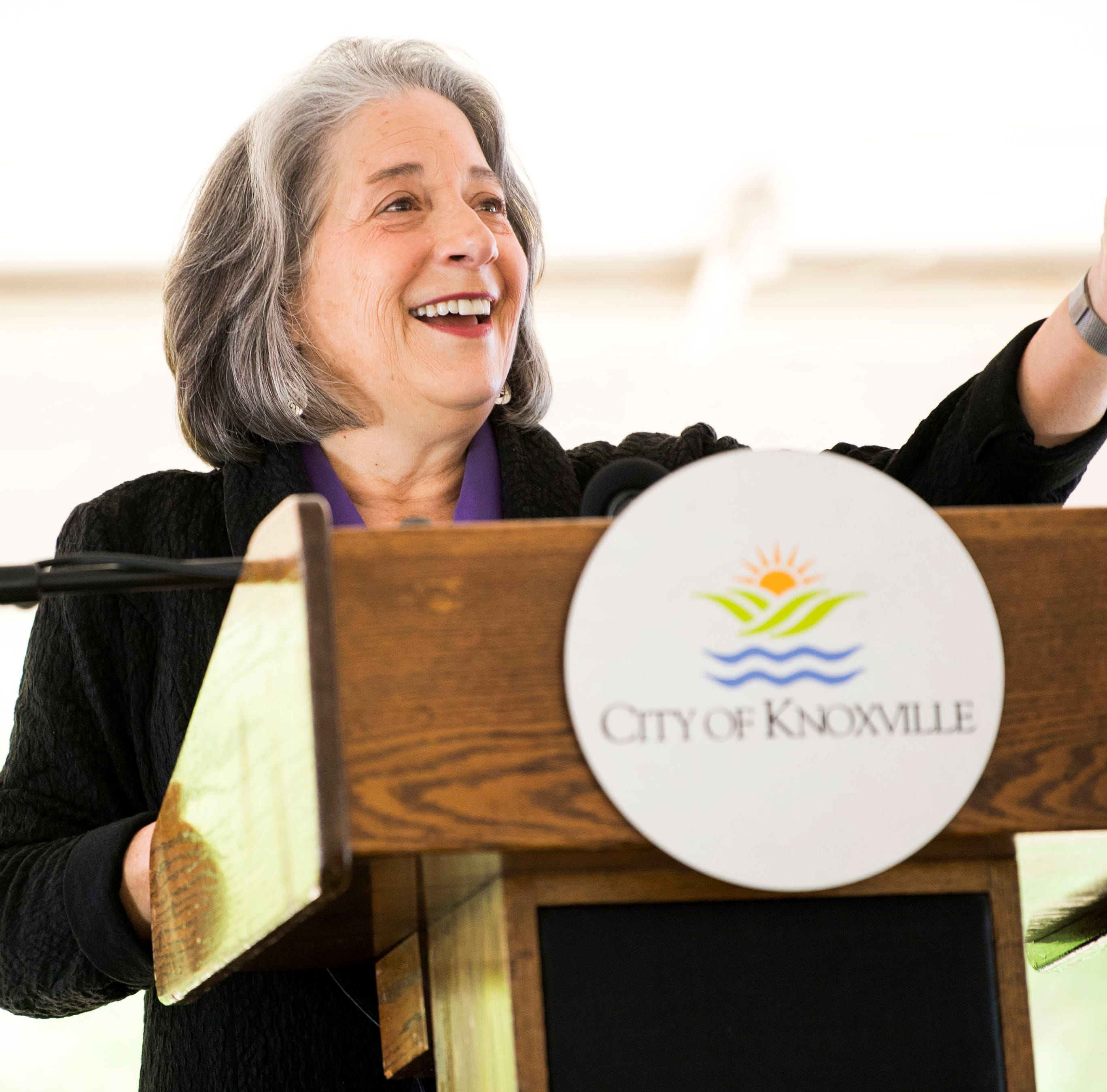 Knoxville Mayor Madeline Rogero gives her final State of the City address at the Urban Wilderness Gateway Park in South Knoxville on Friday, April 26, 2019.