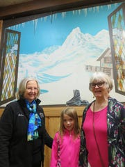 Julia Hardin, Allie Dell Presswood and Flossie McNabb are shown inside the Ice Chalet on April 22.