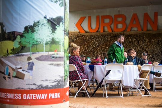 Attendees gather before Knoxville Mayor Madeline Rogero's final State of the City address held at the Urban Wilderness Gateway Park in South Knoxville on Friday, April 26, 2019.
