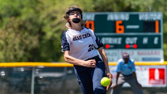 Beau Chene's Mallory Pitre in the circle as Beau Chene takes on Buckeye High School in the LHSAA State Softball Tournament semifinals Friday, April 26, 2019.