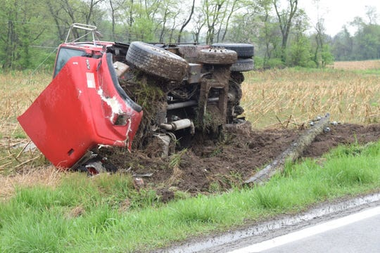 No one was injured after this dump truck overturned on Cincinnati-Zanesville Road April 26, 2019.