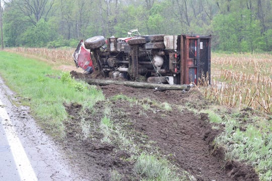 No one was injured when this dump truck overturned on Cincinnati-Zanesville Road on April 26, 2019.