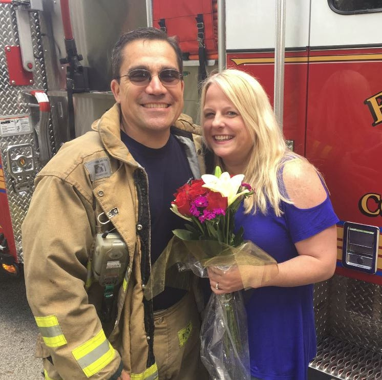 This is not a drill! Firefighter surprises high school teacher with marriage proposal