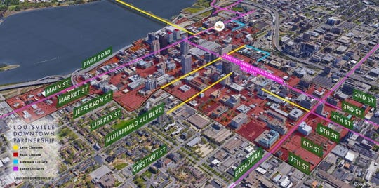 The 2019 Kentucky Derby Festival miniMarathon and Marathon will result in various downtown Louisville street closures and parking restrictions.