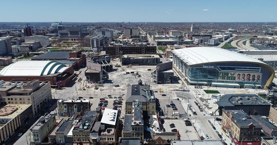 Demolition work continues at the Bradley Center next to the new home of the Milwaukee Bucks, Fiserv Forum, as viewed from a drone on April 26, 2019.