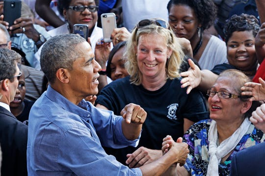 President Barack Obama  greets crowd following his speech at the Miller Lite Oasis Stage on the Summerfest grounds during Laborfest on Labor Day Monday, September 1, 2014. Photo by Angela Peterson / apeterson@journalsentinel.com