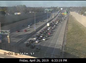 Eastbound traffic on Interstate 94 is backed up near Wisconsin State Fair Park around 6:30 p.m. Friday.