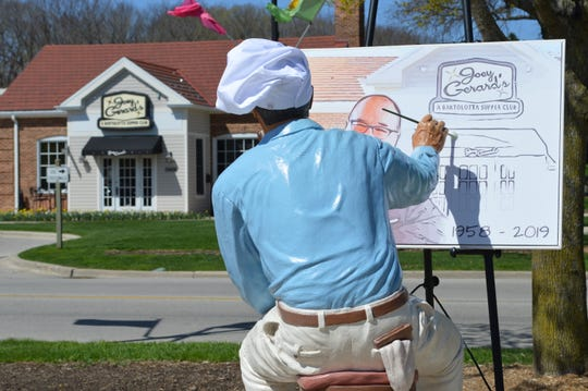 The Norman Rockwell statue in downtown Greendale was decorated April 25 to pay homage to the late Joe Bartolotta, co-founder of the Bartolotta Restaurants group. One of the group's restaurants, Joey Gerard's, is located near the statue.