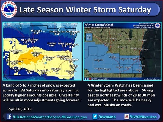 The National Weather Service says as much as 8 inches of snow could fall on portions of southern Wisconsin.