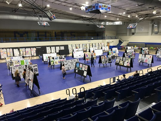 Students' artwork sits on display at last year's Mountain Home Schools Fine Arts  Festival. The yearly event returns tomorrow evening at The Hangar.
