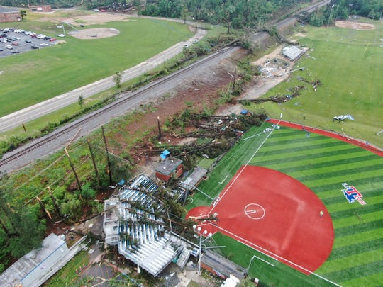 Robert Brown used a drone Thursday, April 25, 2019, around the Louisiana Tech University campus. An early morning tornado killed two people and devastated the city.
