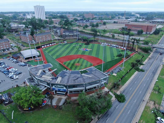 Robert Brown used a drone Thursday, April 25, around the Louisiana Tech University campus. An early morning tornado that killed 2 and devastated the city.