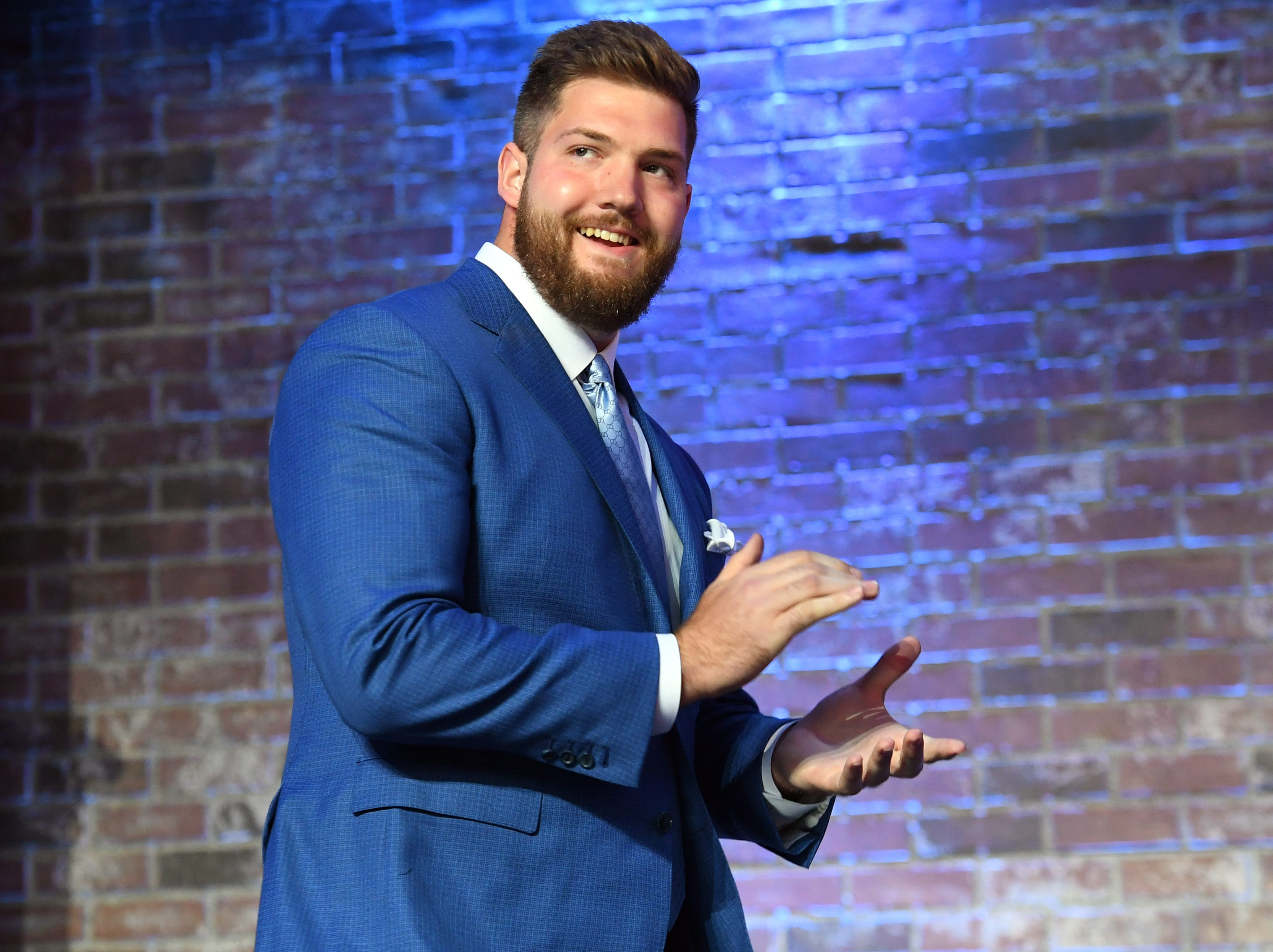 Apr 25, 2019; Nashville, TN, USA; Jonah Williams (Alabama) takes the stage prior to the first round of the 2019 NFL Draft in Downtown Nashville. Mandatory Credit: Christopher Hanewinckel-USA TODAY Sports
