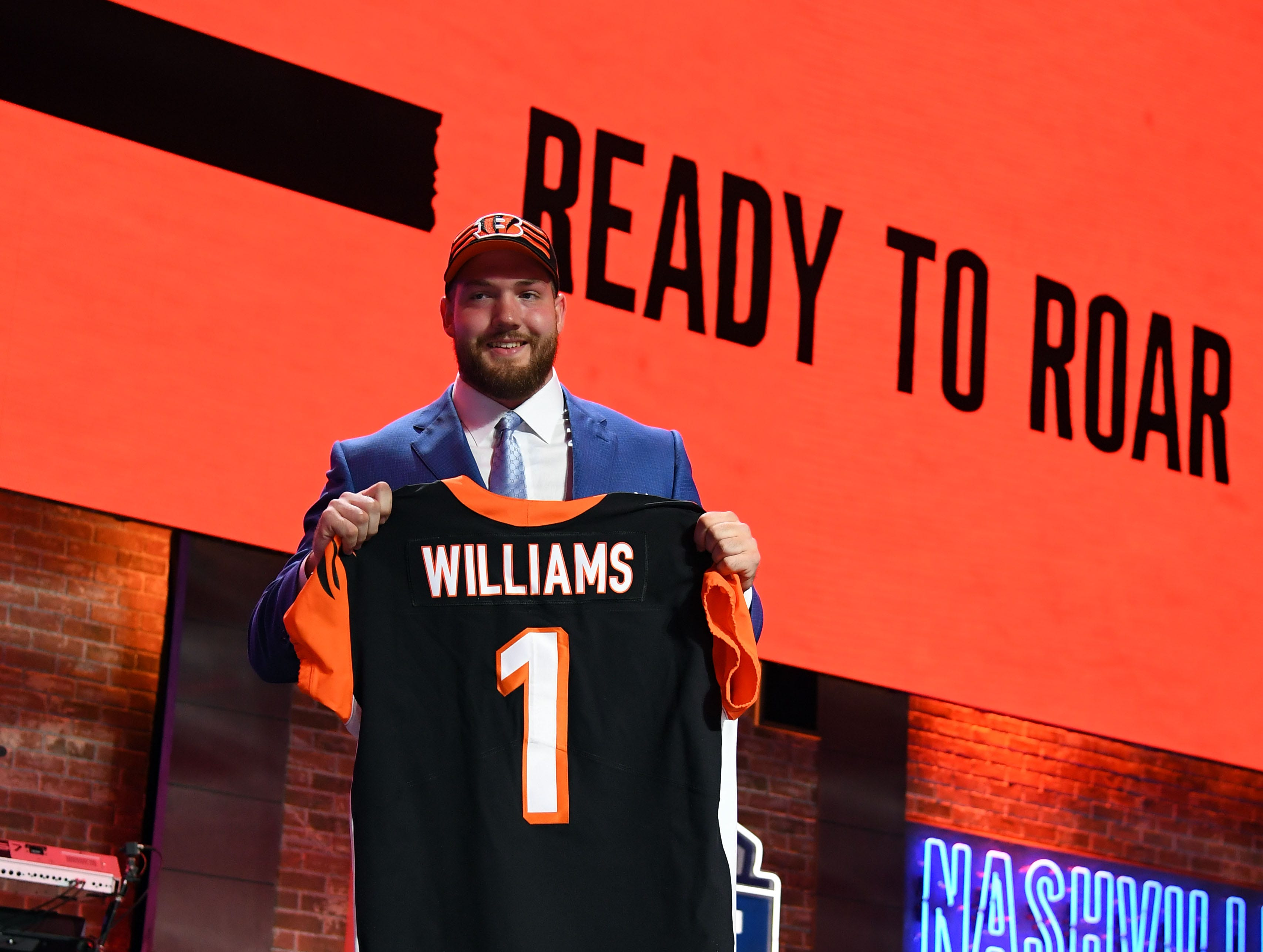 Apr 25, 2019; Nashville, TN, USA; Jonah Williams (Alabama) is selected as the number eleven overall pick to the Cincinnati Bengals in the first round of the 2019 NFL Draft in Downtown Nashville. Mandatory Credit: Christopher Hanewinckel-USA TODAY Sports