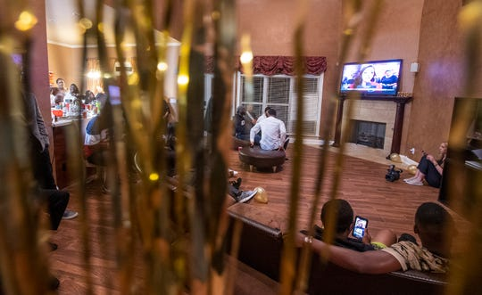Family, friends and supporters of Mack Wilson gather to watch the NFL Draft in Montgomery, Ala., on Thursday evening April 25, 2019.