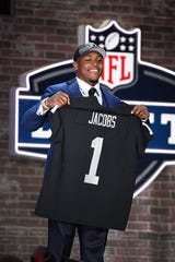 Apr 25, 2019; Nashville, TN, USA; Josh Jacobs (Alabama) is selected as the number twenty-four overall pick to the Oakland Raiders during the 2019 NFL Draft in Downtown Nashville. Mandatory Credit: Kirby Lee-USA TODAY Sports
