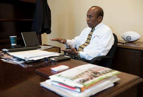 Mayoral candidate Gen. Ed Crowell talks in his office in Montgomery, Ala., on Friday, April 26, 2019.