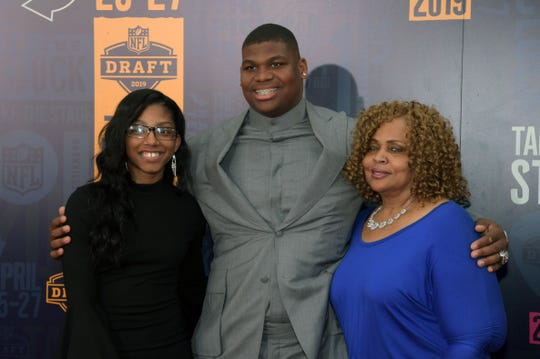 Apr 25, 2019; Nashville, TN, USA; Quinnen Williams (Alabama) and guests on the red carpet prior to the first round of the 2019 NFL Draft in Downtown Nashville. Mandatory Credit: Kirby Lee-USA TODAY Sports