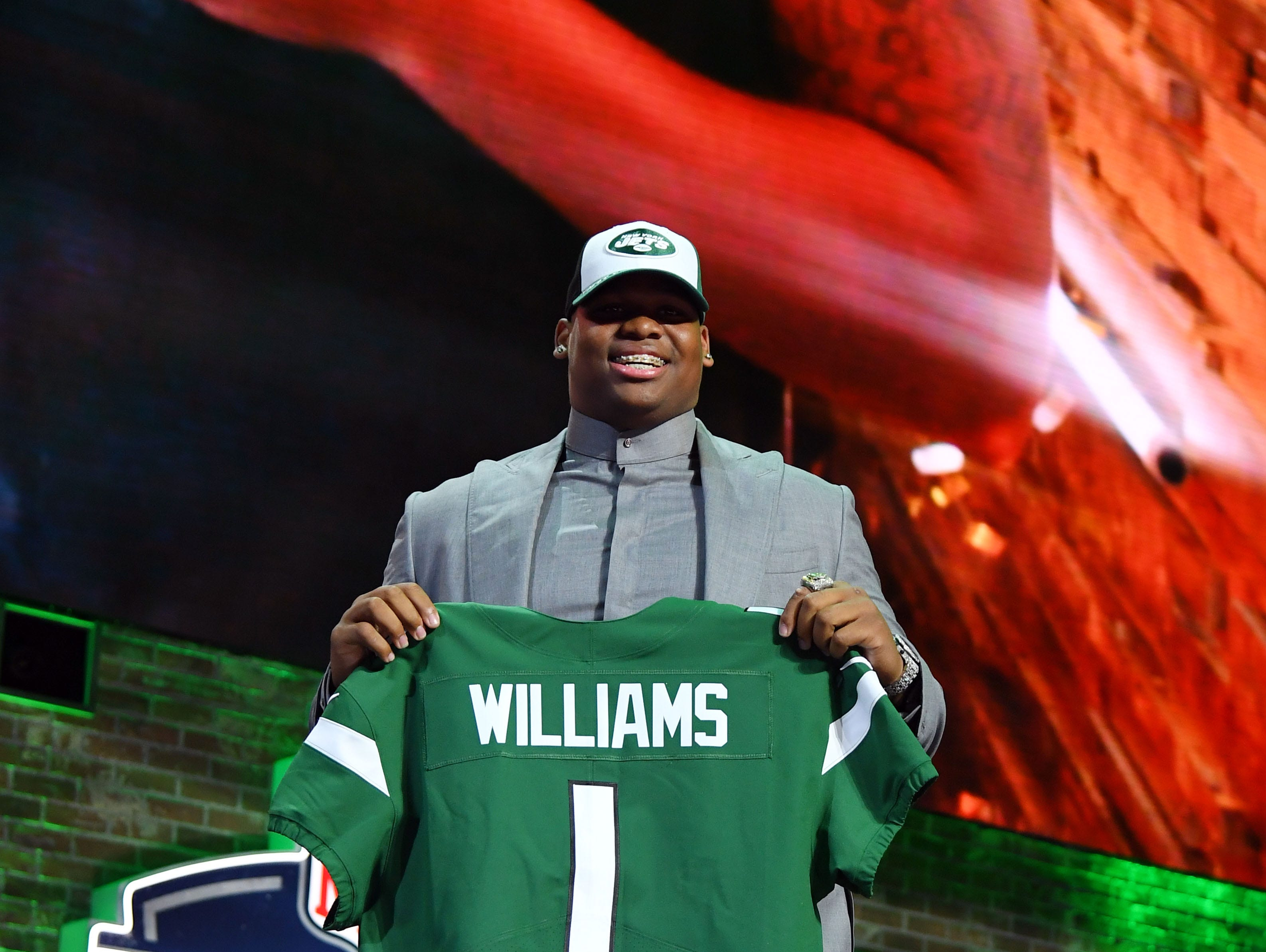 Apr 25, 2019; Nashville, TN, USA; Quinnen Williams (Alabama) is selected as the number three overall pick to the New York Jets in the first round of the 2019 NFL Draft in Downtown Nashville. Mandatory Credit: Christopher Hanewinckel-USA TODAY Sports