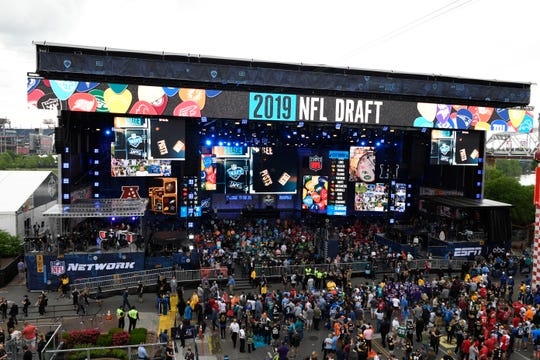 A general view of the stage prior to the start of the 2019 NFL Draft in Downtown Nashville.