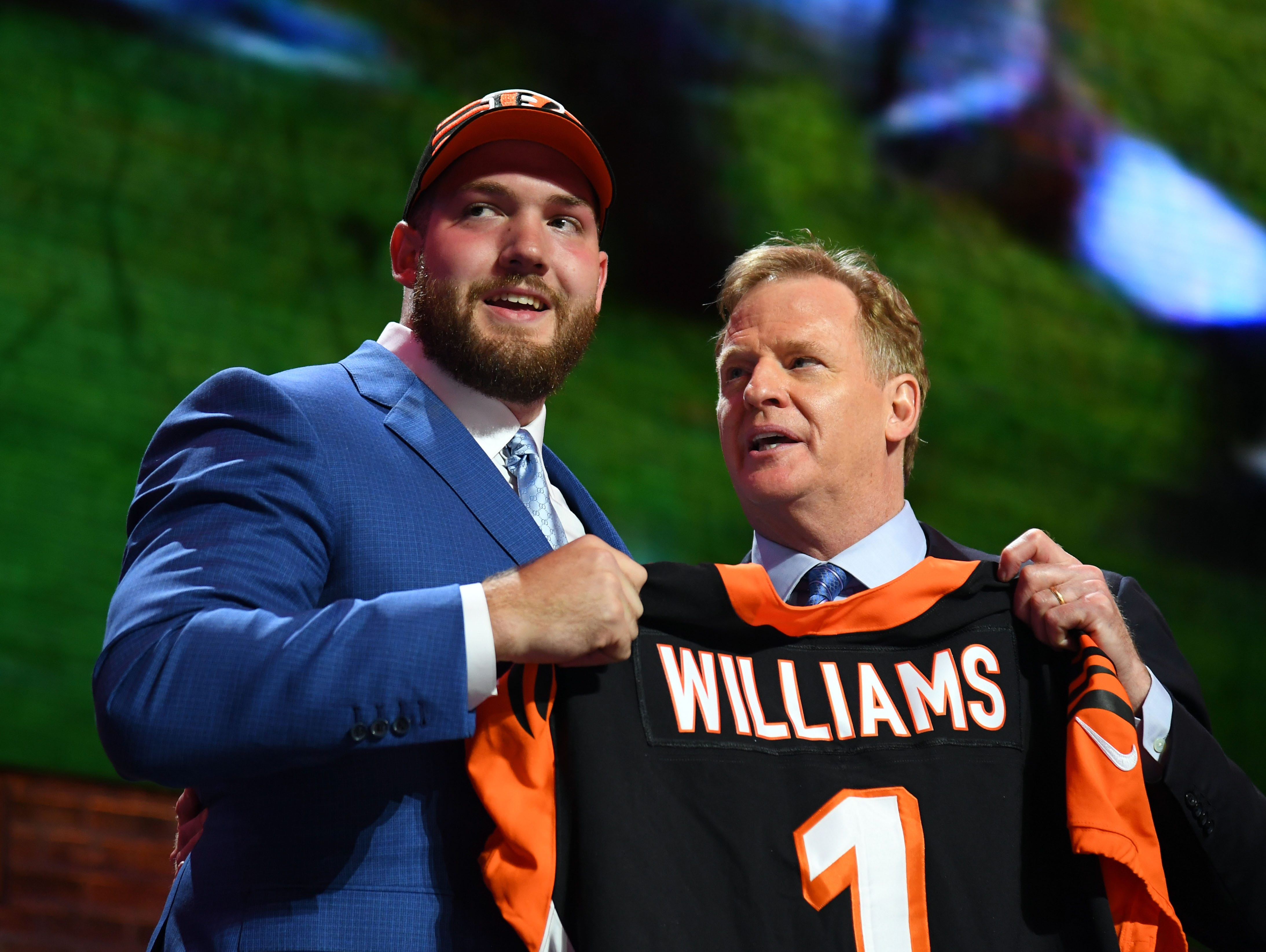 Apr 25, 2019; Nashville, TN, USA; Jonah Williams (Alabama) stands with NFL commissioner Roger Goodell after he was selected as the number eleven overall pick to the Cincinnati Bengals in the first round of the 2019 NFL Draft in Downtown Nashville. Mandatory Credit: Christopher Hanewinckel-USA TODAY Sports
