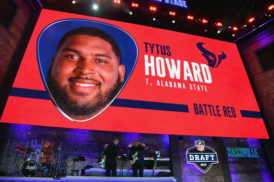 Apr 25, 2019; Nashville, TN, USA; Tytus Howard (Alabama State) is selected as the number twenty-three overall pick to the Houston Texans in the first round of the 2019 NFL Draft in Downtown Nashville. Howard was not in attendance. Mandatory Credit: Christopher Hanewinckel-USA TODAY Sports