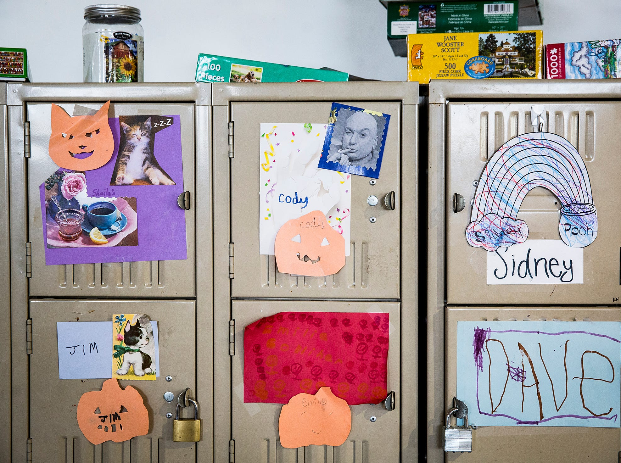Personalized lockers hold items for Beyond I Can workers at Madjax Friday morning.