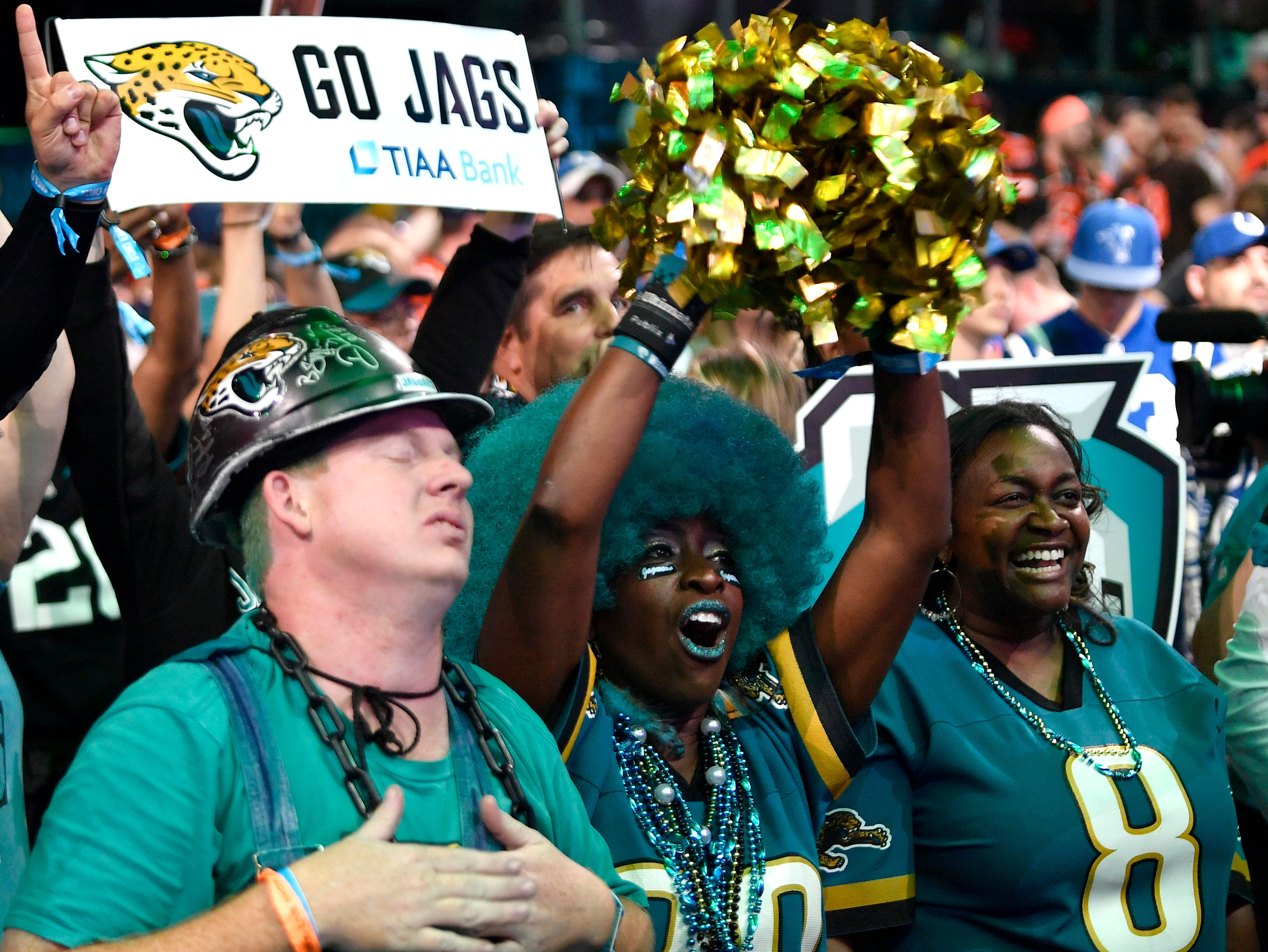 Jacksonville Jaguars fans react to the pick during the first round of the NFL Draft Thursday, April 25, 2019, in Nashville, Tenn.