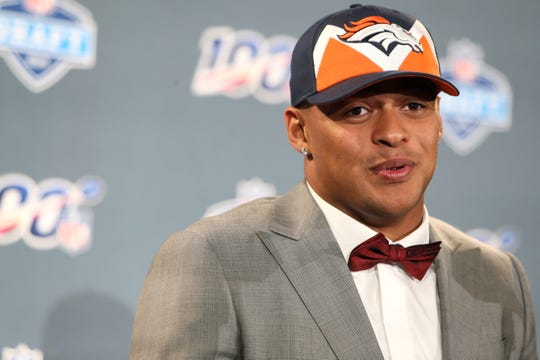 The number twenty pick selected by the Denver Broncos Noah Fant speaks during a press conference after his selection at the NFL draft in downtown Nashville on Thursday, April 25, 2019.