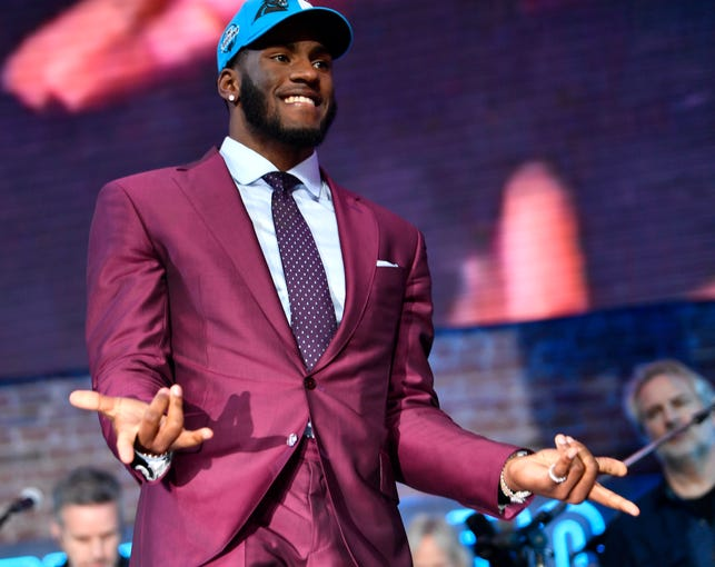 Brian Burns gives the Spider Man symbol after being picked by the Carolina Panthers during the first round of the NFL Draft Thursday, April 25, 2019, in Nashville, Tenn.