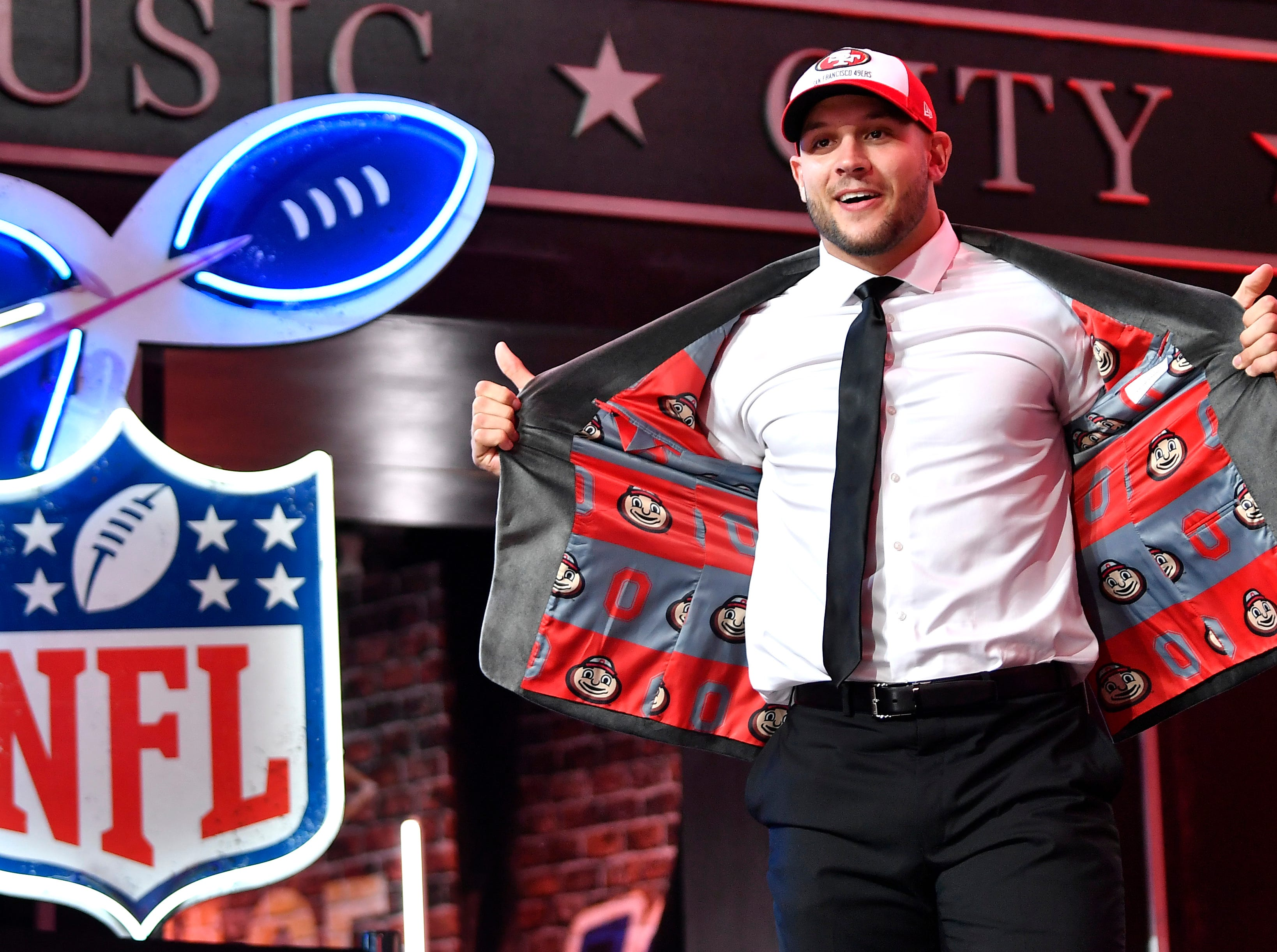 Nick Bosa walks out after being picked second in the first round by the San Francisco 49ers in the NFL Draft Thursday, April 25, 2019, in Nashville, Tenn.