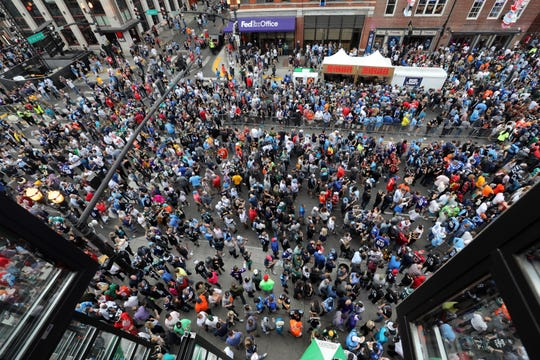 Lower Broadway as seen from Kid Rock's honky tonk during the NFL Draft watch party for Pinnacle Financial Partners Thursday, April 25, 2019.