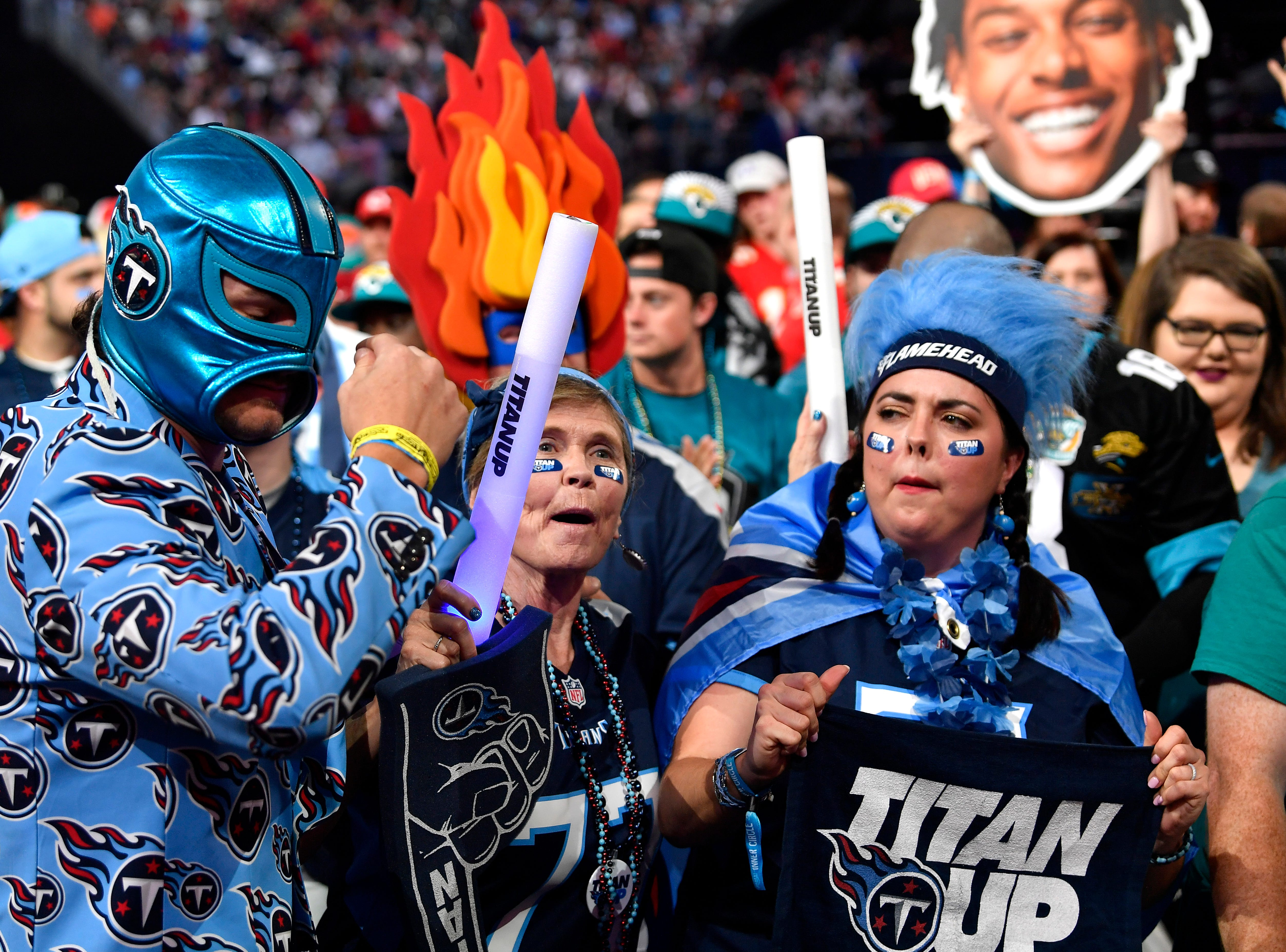 Titans fans wait for their pick during the first round of the NFL Draft Thursday, April 25, 2019, in Nashville, Tenn.
