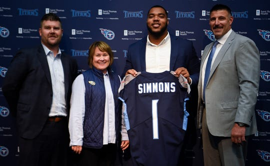 From left, Titans general manager Jon Robinson, owner Amy Adams Strunk, first-round pick Jeffery Simmons and coach Mike Vrabel at Simmons' introductory press conference April 26 Saint Thomas Sports Park.