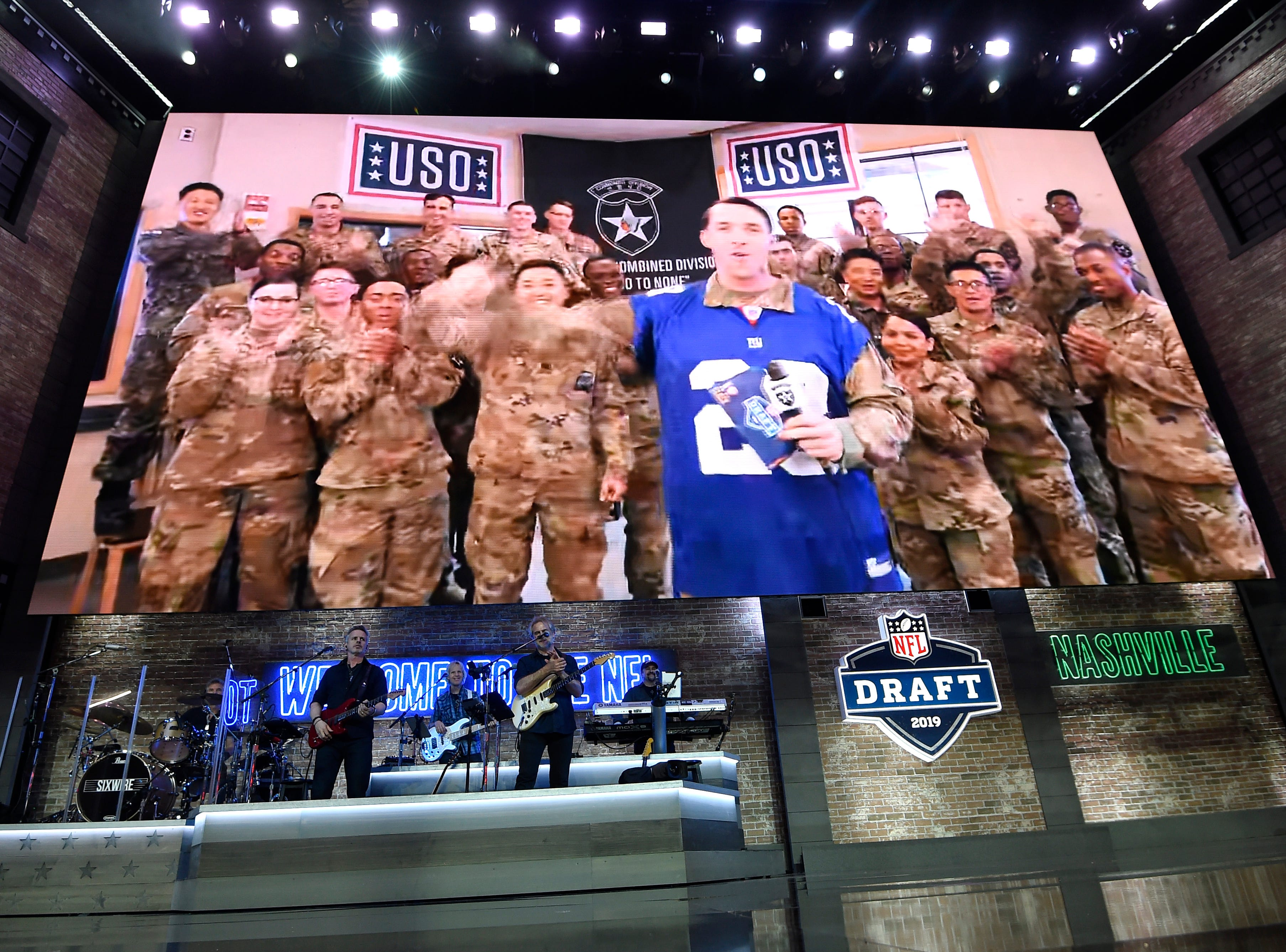 Service members make the pick for the New York Giants during the first round of the NFL Draft Thursday, April 25, 2019, in Nashville, Tenn.