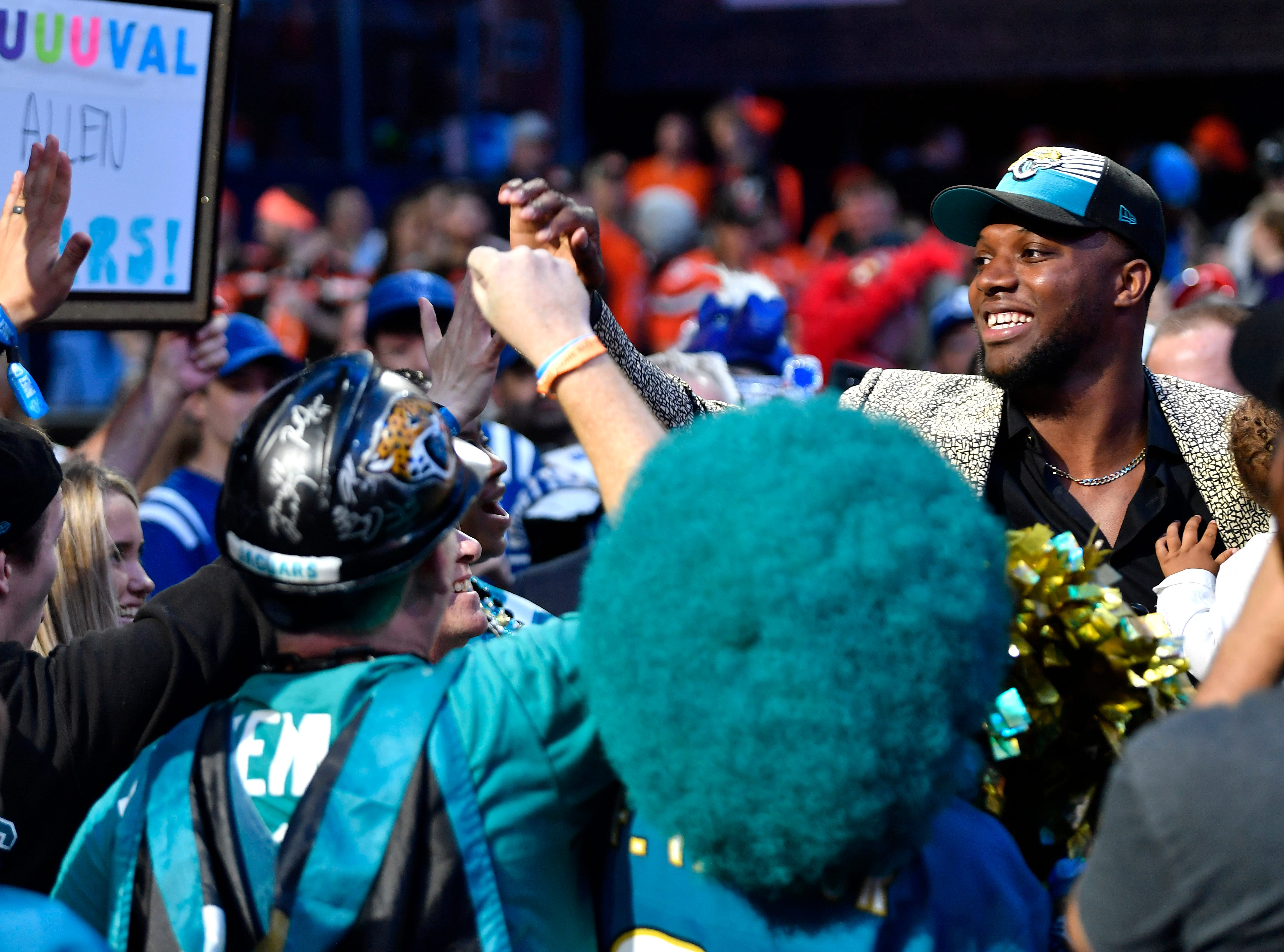 Josh Allen mingles with Jaguars fans after being picked during the first round of the NFL Draft Thursday, April 25, 2019, in Nashville, Tenn.