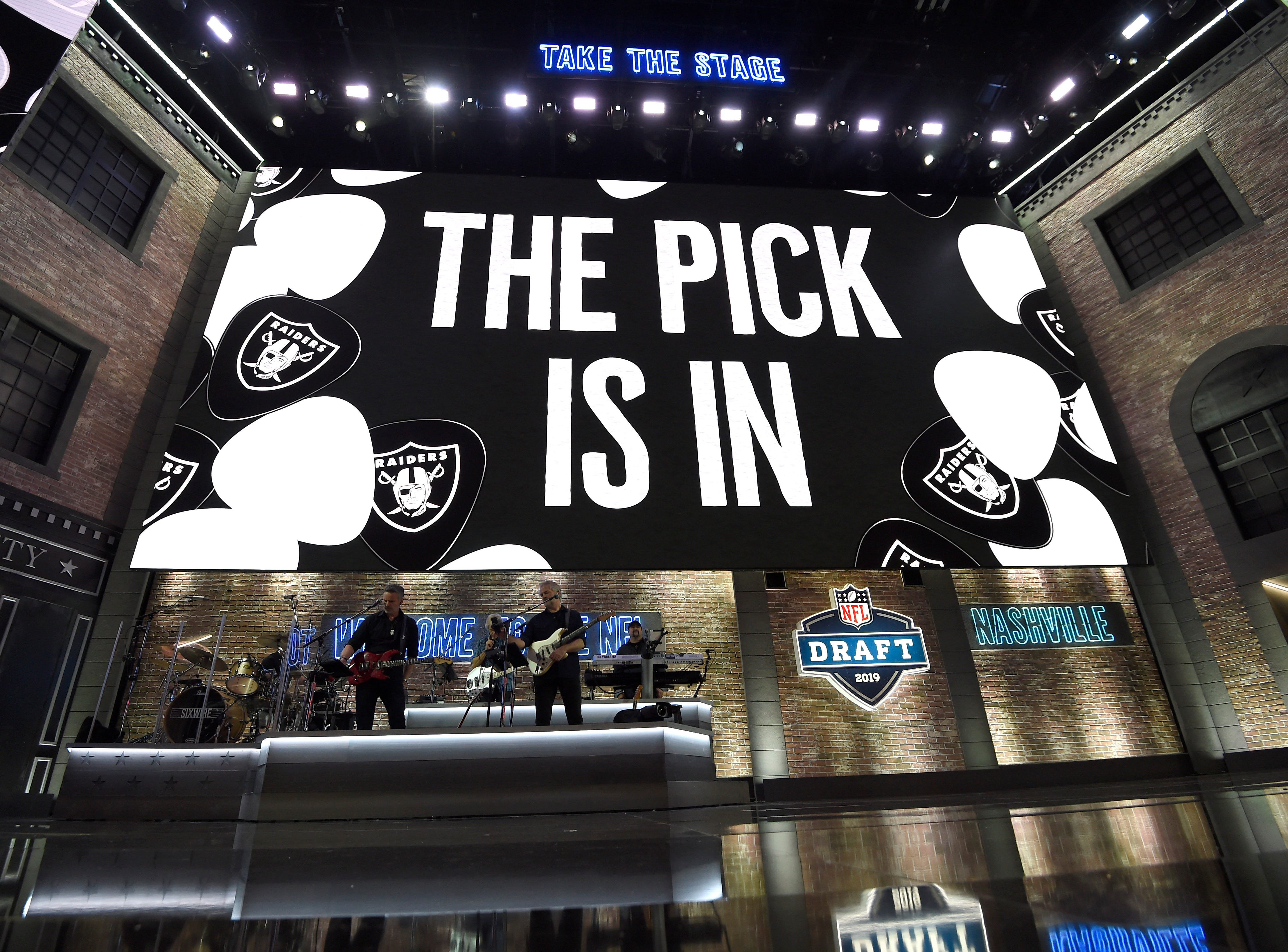 Sixwire performs between picks during the first round of the NFL Draft Thursday, April 25, 2019, in Nashville, Tenn.