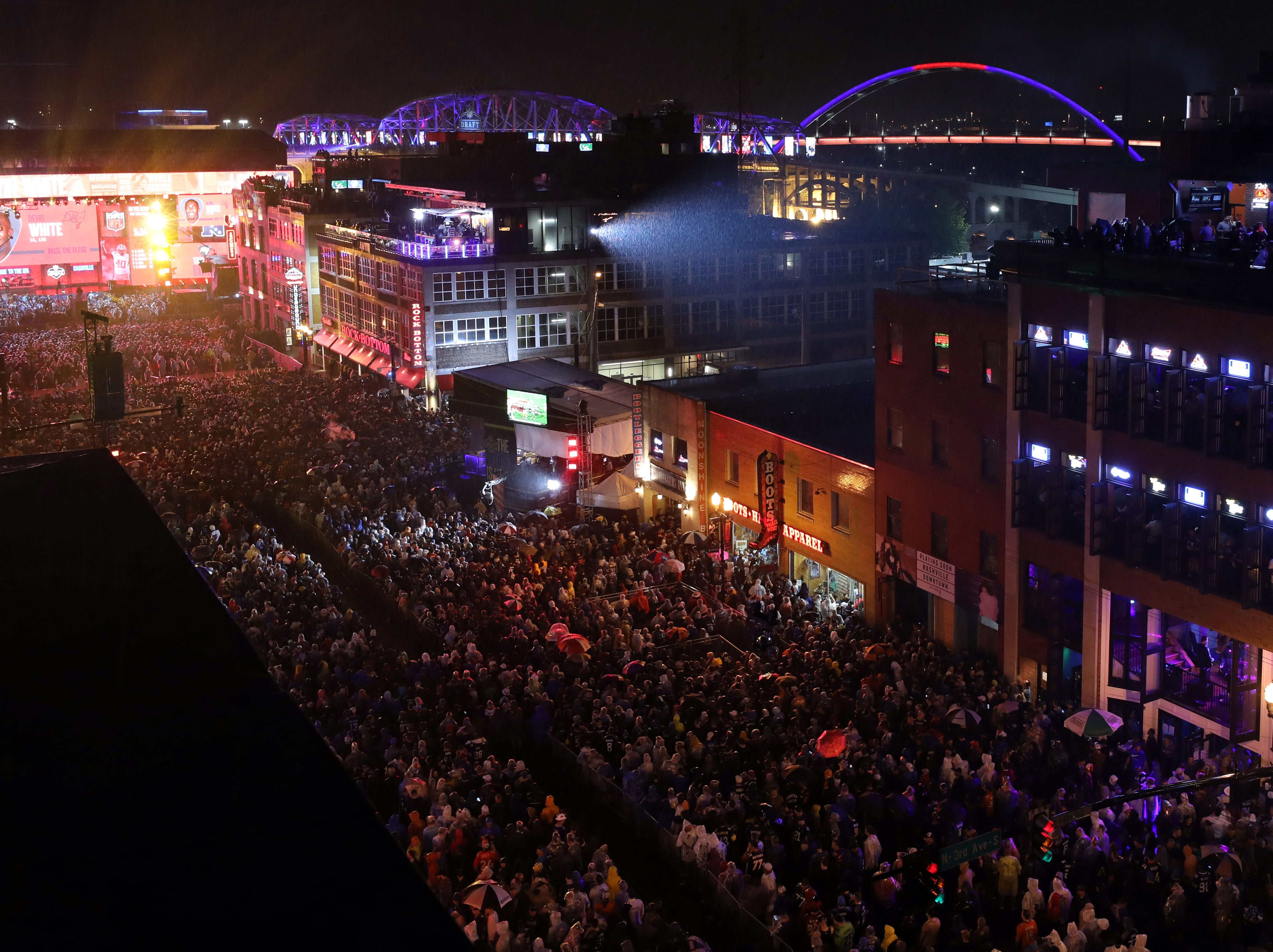 Lower Broadway as seen from the Ole Red rooftop during the Bridgestone watch party for the NFL draft on Lower Broadway Thursday, April 25, 2019.
