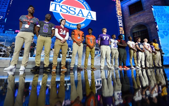 TSSAA athletes helped make the Titans' pick during the first round of the NFL Draft on Thursday in Nashville. Pearl-Cohn's Elijah Simmons (sixth from the right) caught J.J. Watt's eye.