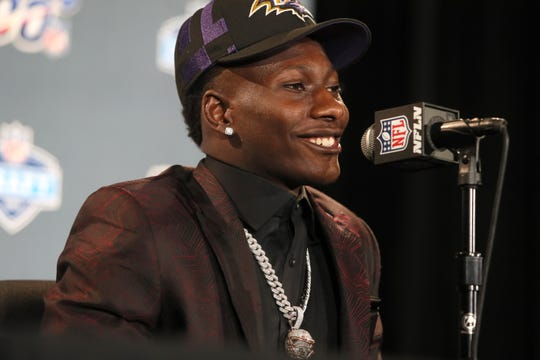 """The number twenty five pick selected by the Baltimore Ravens Marquise """"Hollywood"""" Brown speaks during a press conference after his selection at the NFL draft in downtown Nashville on Thursday, April 25, 2019."""