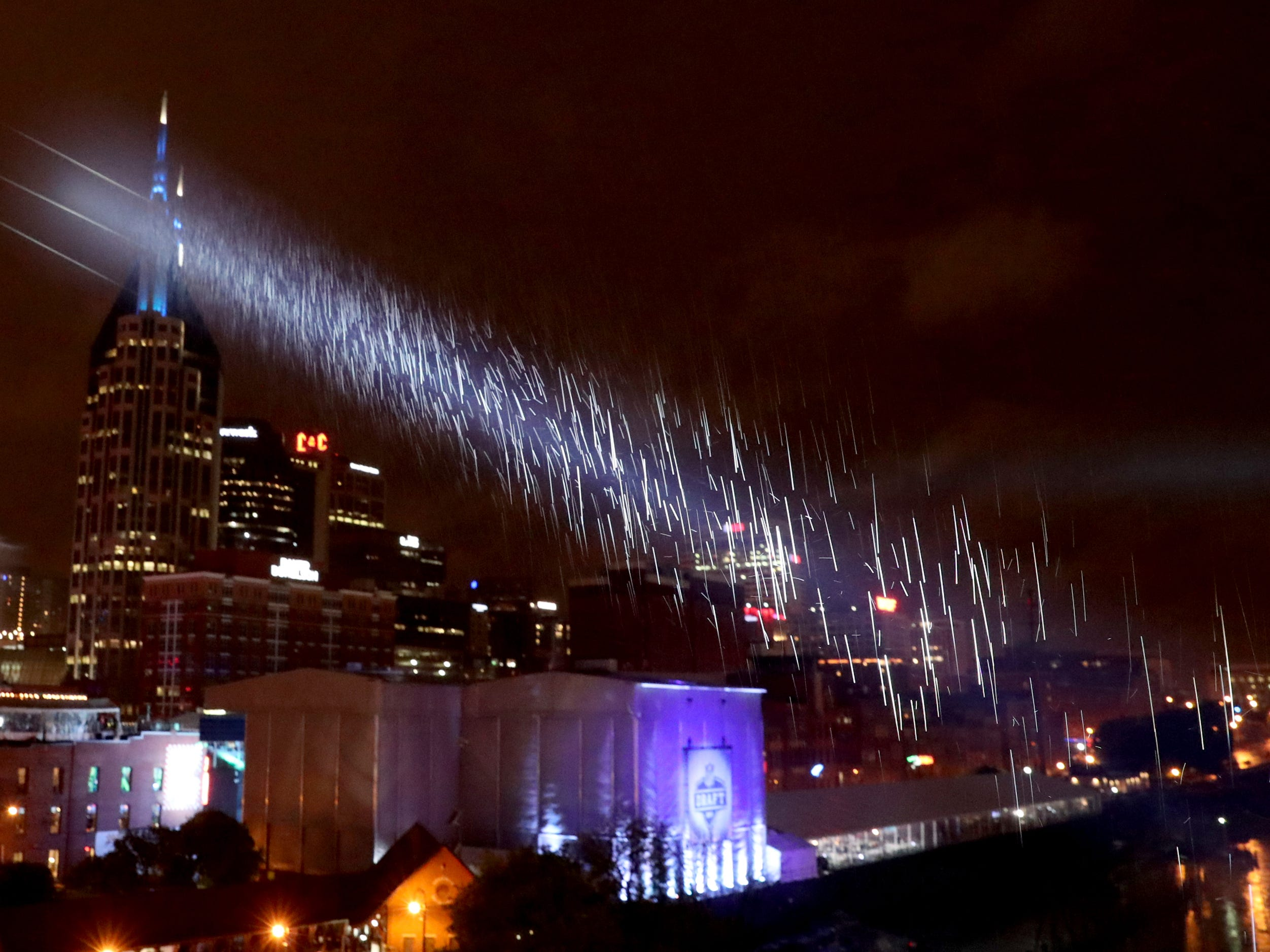 Light rain continued to fall on and off throughout the night during the first night of the NFL Draft on Thursday, April 25, 2019, in Nashville, Tennessee.