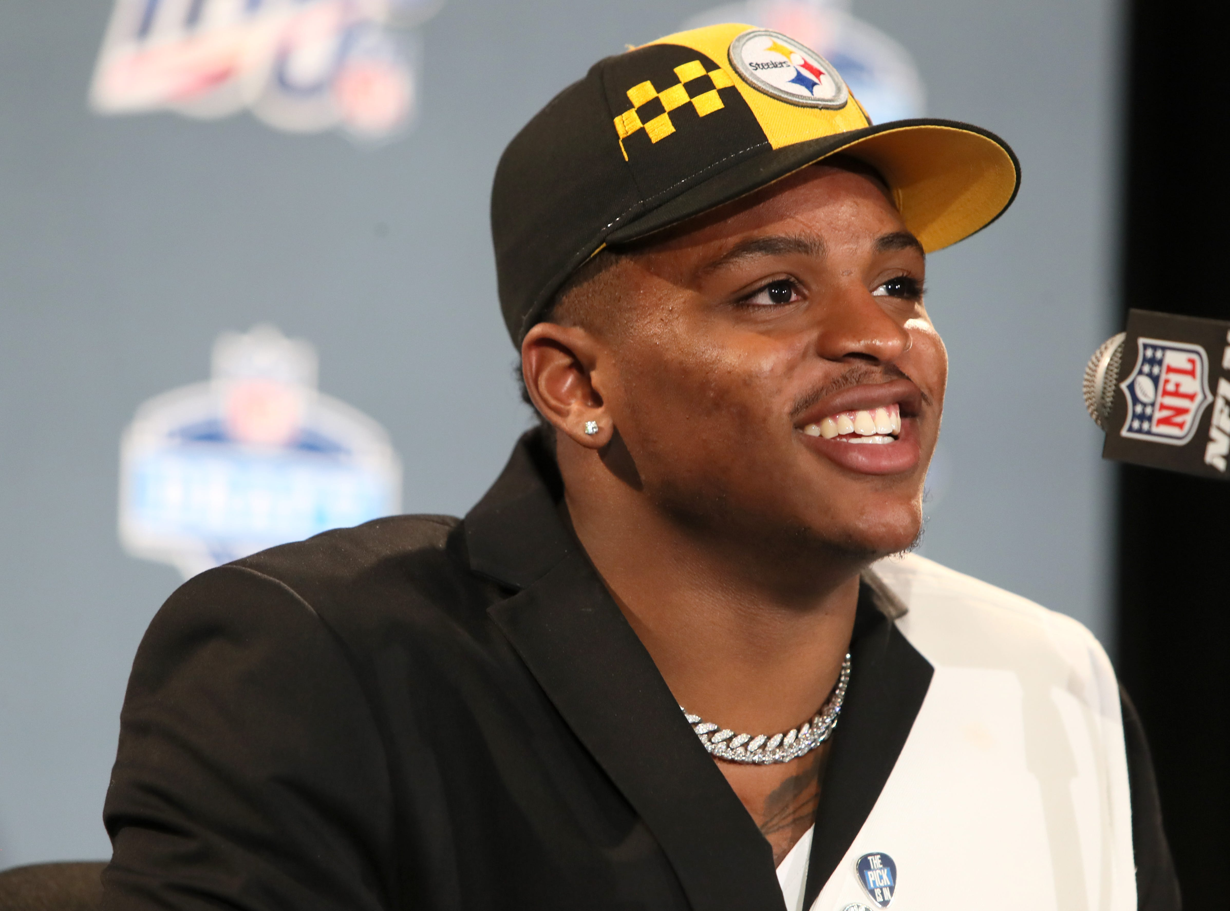The number ten pick selected by the Pittsburgh Steelers Devin Bush speaks during a press conference after his selection at the NFL draft in downtown Nashville on Thursday, April 25, 2019.