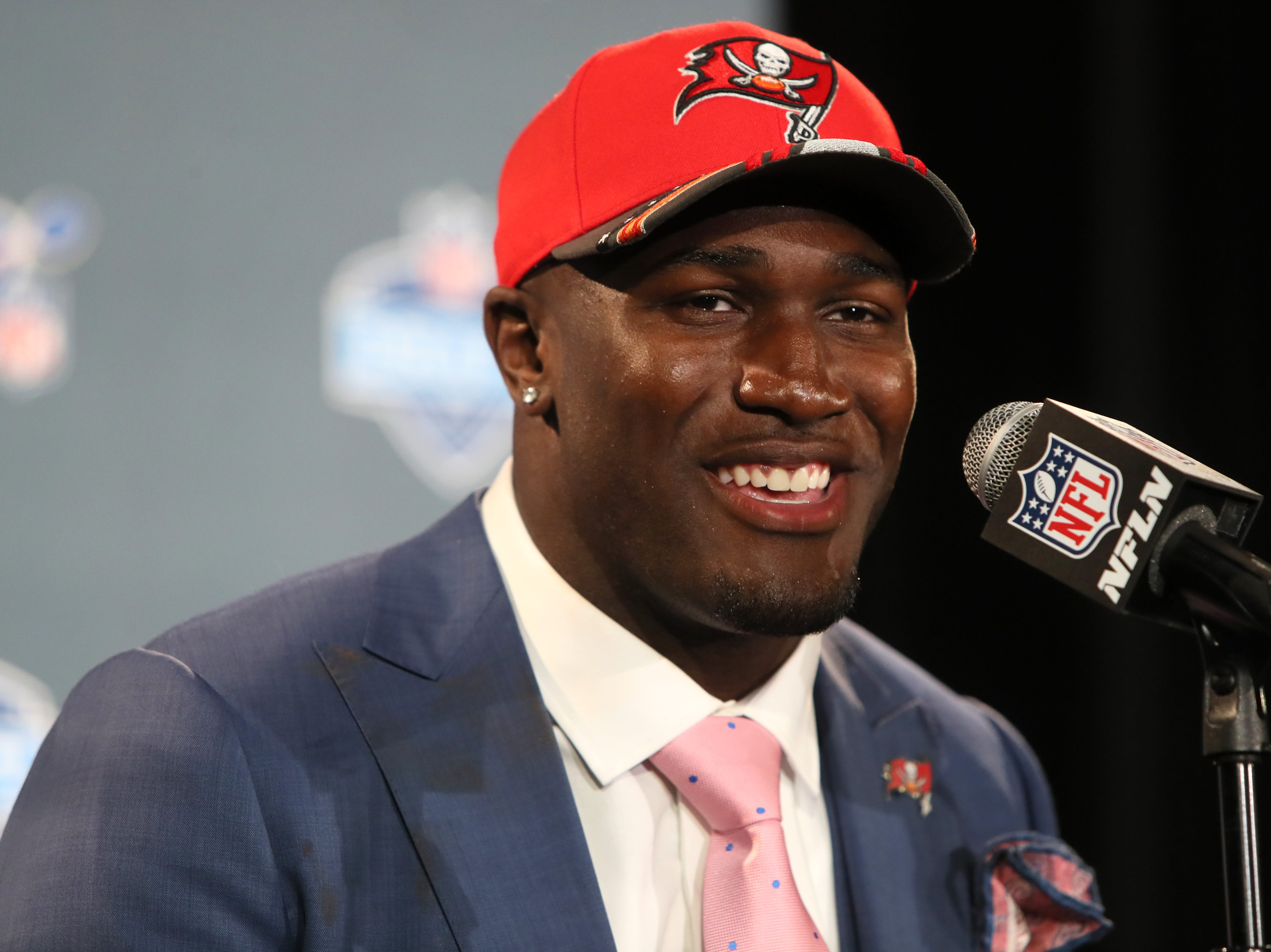 The number five pick selected by the Tampa Bay Buccaneers Devin White speaks during a press conference after his selection at the NFL draft in downtown Nashville on Thursday, April 25, 2019.