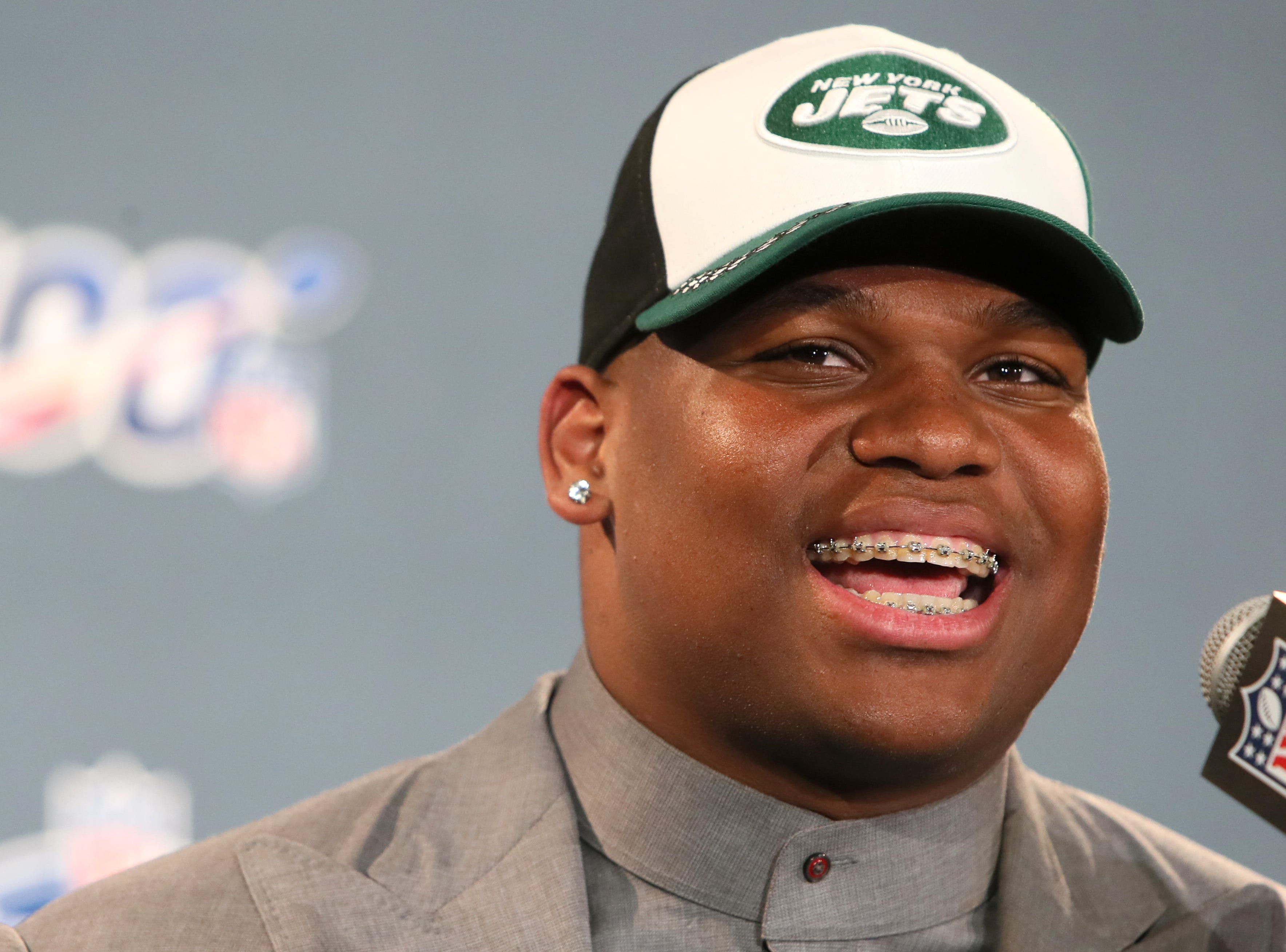The number three pick selected by the New York Jets Quinnen Williams speaks during a press conference after his selection at the NFL draft in downtown Nashville on Thursday, April 25, 2019.