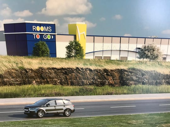 A rendering of a proposed Rooms To Go distribution center and retail store for Wilson County.