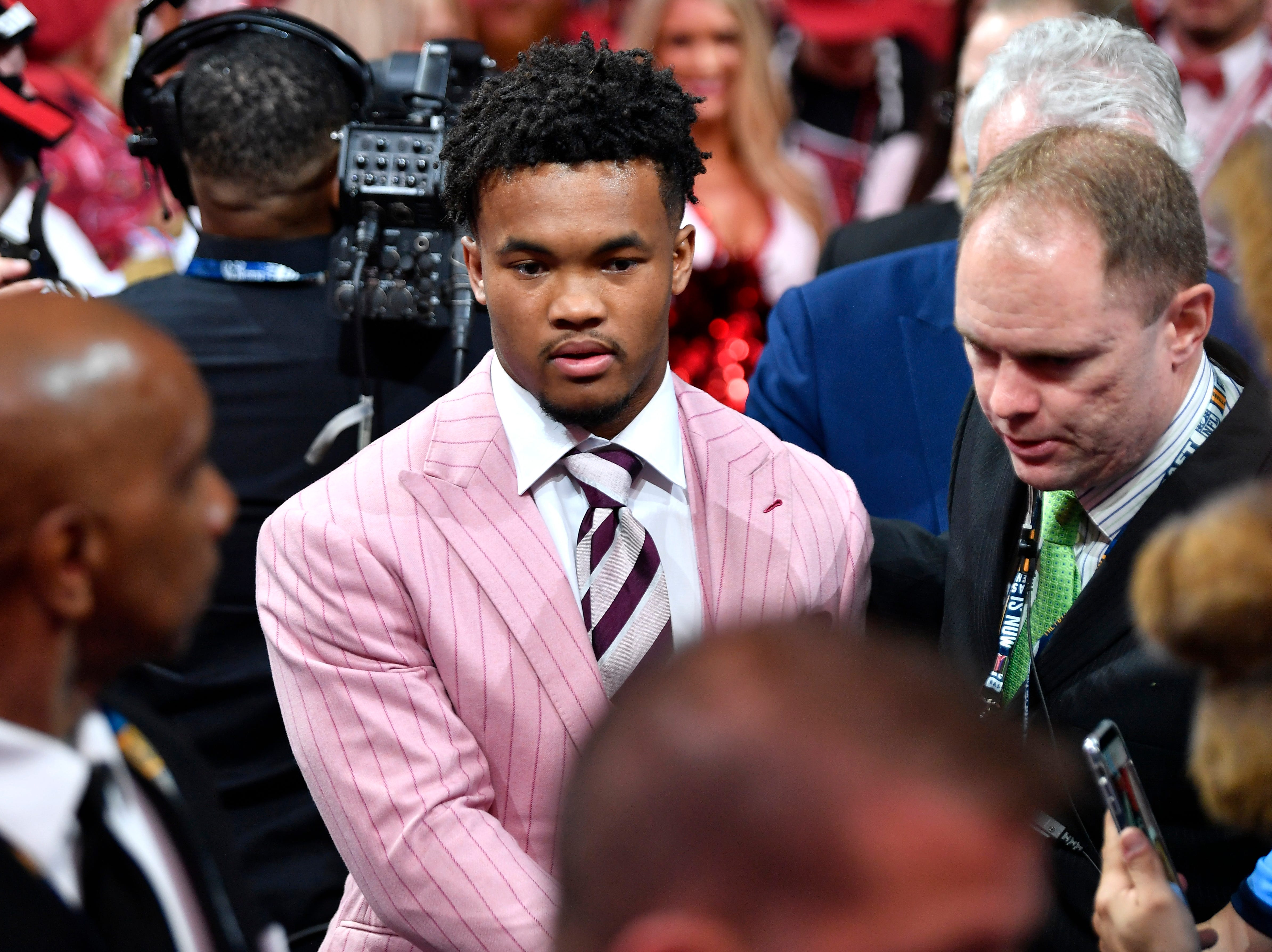Kyler Murray is congratulated after being picked first by the Arizona Cardinals during the first round of the NFL Draft Thursday, April 25, 2019, in Nashville, Tenn.