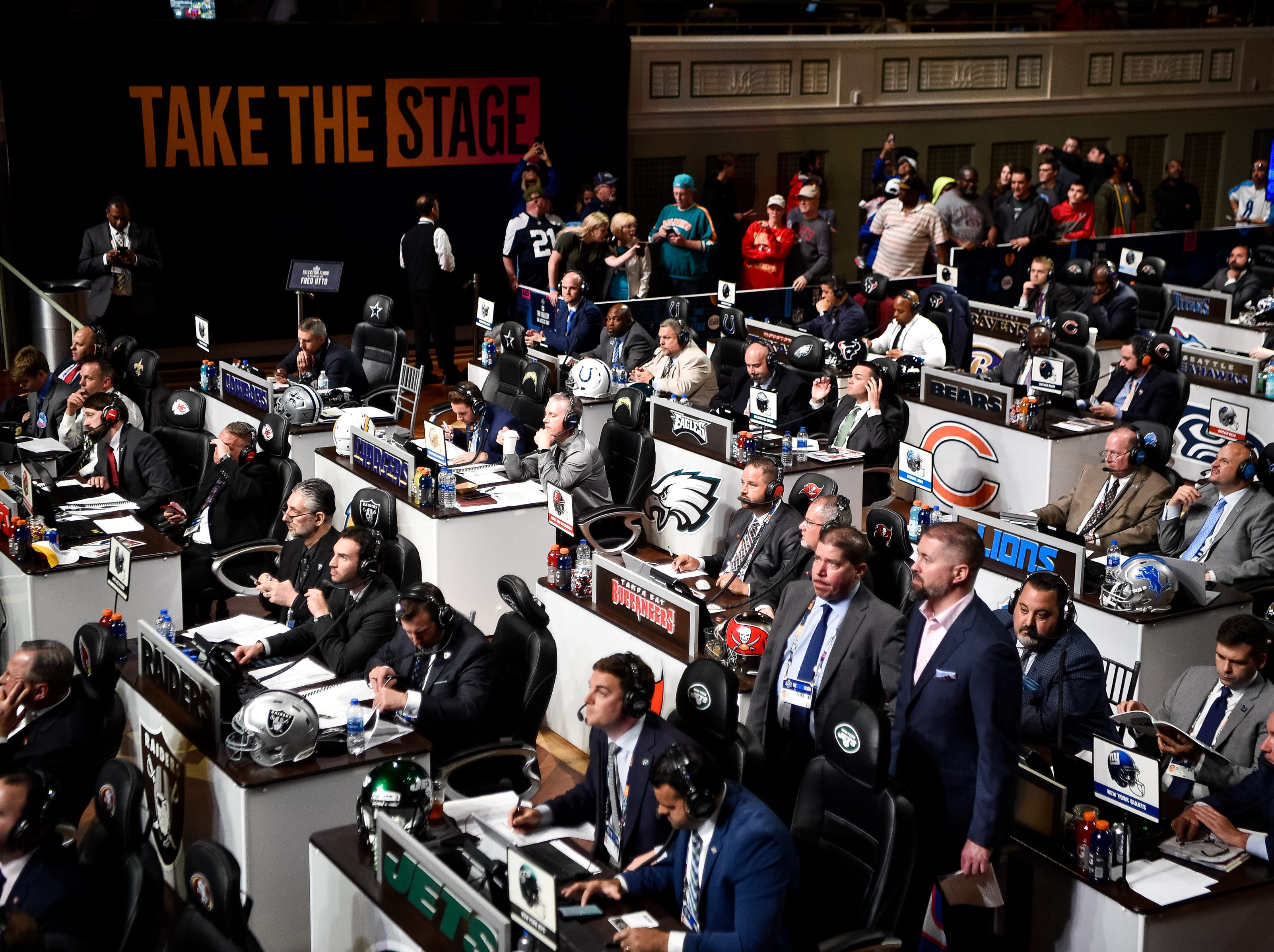 NFL officials wait to make their pick in the first round of the NFL Draft at the Schermerhorn Symphony Center on Thursday, April 25, 2019.